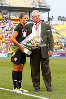 14 MAY 2011: Carli Lloyd #10 of the United States is honored before a game against Japan for playing 100 games with the US National Team at Crew Stadium in Columbus, Ohio.