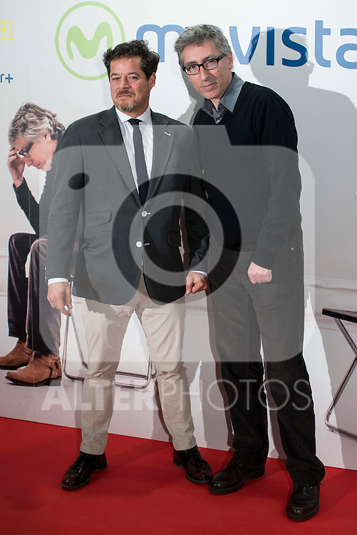 """Jorge Sanz and David Trueba attends to the premire of the film """"Que fue de Jorge Sanz"""" at Cinesa Proyecciones in Madrid. February 10, 2016."""