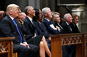 From left, President Donald Trump, first lady Melania Trump, former President Barack Obama, former first lady Michelle Obama, former President Bill Clinton, former Secretary of State Hillary Clinton, and former President Jimmy Carter and former first lady Rosalynn Carter participate in the State Funeral for former President George H.W. Bush, at the National Cathedral, Wednesday, Dec. 5, 2018 in Washington. <br /> Credit: Alex Brandon / Pool via CNP