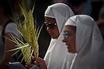 Nuns celebrate Palm Sunday in Jerusalem Sunday, April 13 2014. Photo by Eyal Warshavsky