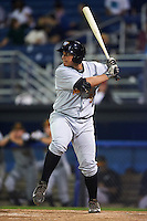 West Virginia Black Bears pinch hitter Carlos Munoz (56) at bat during a game against the Batavia Muckdogs on August 31, 2015 at Dwyer Stadium in Batavia, New York.  Batavia defeated West Virginia 5-4.  (Mike Janes/Four Seam Images)
