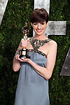 "February 24, 2013, West Hollywood,Ca. --- Actress Anne Hathaway  arrives with her Oscar for  Actress in a Supporting Role -  ""Les Miserables"" at the 2013 Vanity Fair Academy Awards Oscars® Party at Sunset Tower Hotel in West Hollywood. --- Chris Farina"