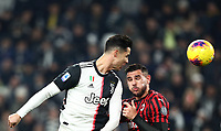 Calcio, Serie A: Juventus - Milan, Turin, Allianz Stadium, November 10, 2019.<br /> Juventus' Cristiano Ronaldo (l) in action with Milan's Hernandez Theo (r) during the Italian Serie A football match between Juventus and Milan at the Allianz stadium in Turin, November 10, 2019.<br /> UPDATE IMAGES PRESS/Isabella Bonotto