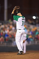 Dayton Dragons starting pitcher Tyler Mondile (35) in action against the Bowling Green Hot Rods at Fifth Third Field on June 8, 2018 in Dayton, Ohio. The Hot Rods defeated the Dragons 11-4.  (Brian Westerholt/Four Seam Images)