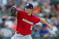 Oklahoma City RedHawks pitcher Wade LeBlanc (16) delivers a pitch to the plate during the Pacific Coast League baseball game against the Round Rock Express on July 9, 2013 at the Dell Diamond in Round Rock, Texas. Round Rock defeated Oklahoma City 11-8. (Andrew Woolley/Four Seam Images)