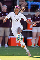 Texas A&M forward Bianca Brinson (22) during NCAA soccer game, Sunday, October 26, 2014 in College Station, Tex. South Carolina draw 2-2 against Texas A&M in double overtime. (Mo Khursheed/TFV Media via AP Images)