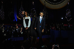 President Barack Obama joined on stage by his daughter Malia after he gave his farewell address to a crowd of thousands and the nation during his farewell address at McCormick Place in Chicago, Illinois on January 10, 2017.