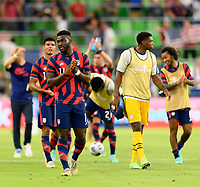 AUSTIN, TX - JULY 29: Daryl Dike #11 of the United States applauds the fans after a game between Qatar and USMNT at Q2 Stadium on July 29, 2021 in Austin, Texas.
