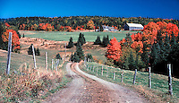 Autumn color frames a country farm in Stewartstown, New Hampshire. Photograph by Peter E. Randall