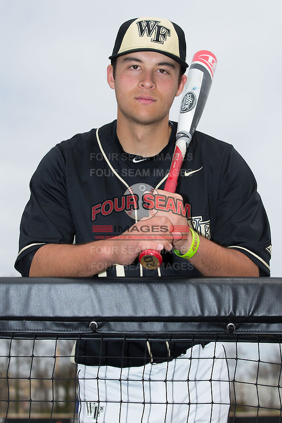 Justin Yurchak (20) of the Wake Forest Demon Deacons poses for a photo prior to the game against the Miami Hurricanes at Wake Forest Baseball Park on March 22, 2015 in Winston-Salem, North Carolina. (Brian Westerholt/Four Seam Images)