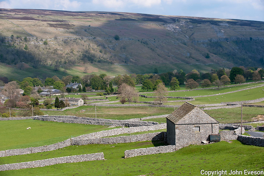 Limestone barns and walls, Arncliffe, North Yorkshire.