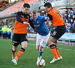 Dundee United v St Johnstone.....21.02.15<br /> Brian Easton tries to force his way between Calum Buthcer and Ryan McGowan<br /> Picture by Graeme Hart.<br /> Copyright Perthshire Picture Agency<br /> Tel: 01738 623350  Mobile: 07990 594431