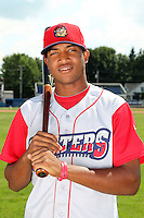 Williamsport Crosscutters outfielder Domingo Santana (24) poses for a photo before a game vs the Batavia Muckdogs at Dwyer Stadium in Batavia, New York July 26, 2010.   Batavia defeated Williamsport 3-2.  Photo By Mike Janes/Four Seam Images