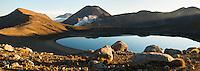 Sunset over Blue Lake and Mount Ngaruhoe, Tongariro Nationasl Park, Central Plateau, North Island, UNESCO World Heritage Area, New Zealand, NZ