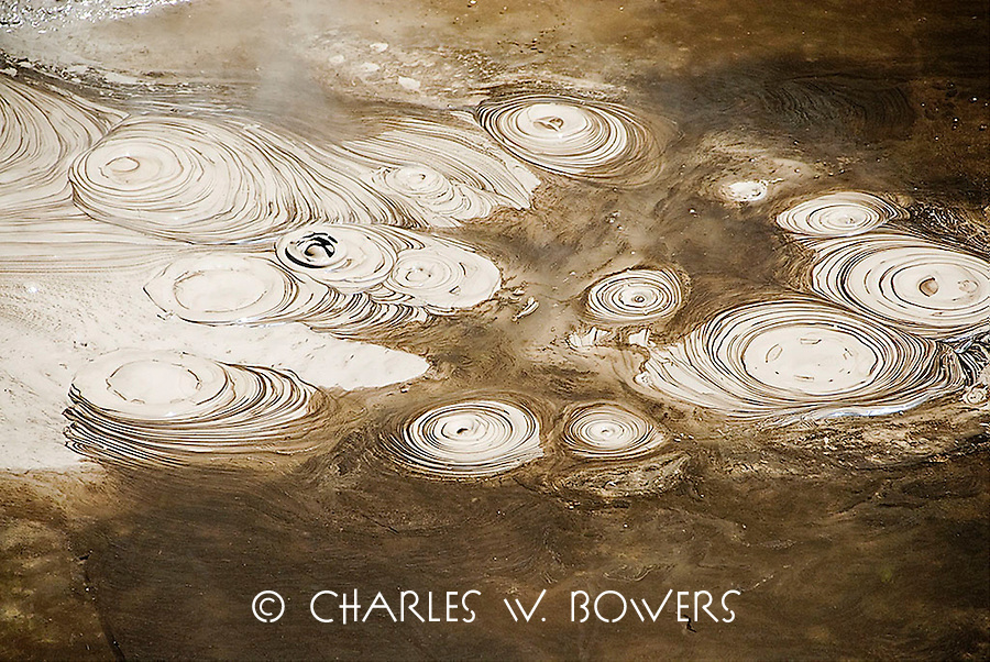 Mud pools form when steam and gas rise underneath rainwater ponds. The gases react with rocks to produce clay, which makes a muddy mixture in the ponds.<br /> <br /> -Limited Edition of 50 Prints.