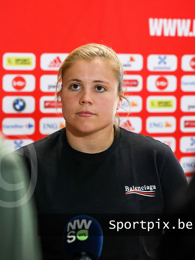 Belgium's goalkeeper Justien Odeurs pictured during an interview at after the qualifying group stage draw for FIFA Women's World Cup 2023, at Royal Belgian   . PHOTO: SPORTPIX.BE | SPP | SEVIL OKTEM