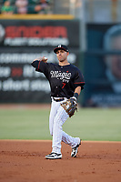 Birmingham Barons second baseman Nick Madrigal  (7) throws to first base during a Southern League game against the Chattanooga Lookouts on July 24, 2019 at Regions Field in Birmingham, Alabama.  Chattanooga defeated Birmingham 9-1.  (Mike Janes/Four Seam Images)