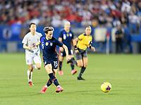 FRISCO, TX - MARCH 11: Megan Rapinoe #15 of the United States passes the ball in the first half during a game between Japan and USWNT at Toyota Stadium on March 11, 2020 in Frisco, Texas.