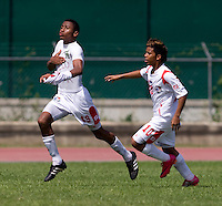 Alfredo Stephens (19) of Panama celebrates his goal with teammate Darwin Pinzon (10) during the quarterfinals of the CONCACAF Men's Under 17 Championship at Catherine Hall Stadium in Montego Bay, Jamaica. Panama defeated Costa Rica, 1-0.