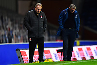 Middlesbrough manager Neil Warnock  and Blackburn Rovers manager Tony Mowbray look dejected <br /> <br /> Photographer Richard Martin-Roberts/CameraSport<br /> <br /> The EFL Sky Bet Championship - Blackburn Rovers v Middlesbrough - Tuesday 3rd November 2020 - Ewood Park - Blackburn<br /> <br /> World Copyright © 2020 CameraSport. All rights reserved. 43 Linden Ave. Countesthorpe. Leicester. England. LE8 5PG - Tel: +44 (0) 116 277 4147 - admin@camerasport.com - www.camerasport.com