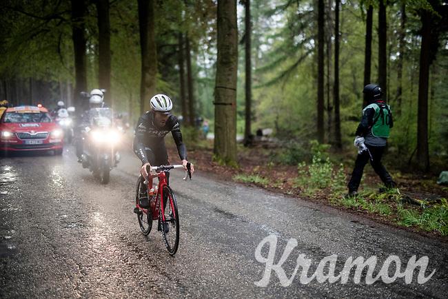 Julien Bernard (FRA/Trek-Segafredo) is the last survivor of the early breakaway as he conquers the Côte de Wanne alone<br /> <br /> 105th Liège-Bastogne-Liège 2019 (1.UWT)<br /> One day race from Liège to Liège (256km)<br /> <br /> ©kramon