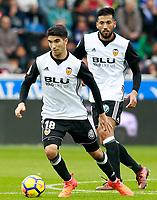 Valencia CF's Carlos Soler (l) and Ezequiel Garay during La Liga match. October 28,2017. (ALTERPHOTOS/Acero) /NortePhoto.com