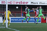 Ben House of Dagenham goes close during Dagenham & Redbridge vs Stockport County, Vanarama National League Football at the Chigwell Construction Stadium on 8th February 2020