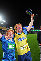 Blues' Fin Christie and Tom Robinson celebrate winning the Super Rugby Tran-Tasman final between the Blues and Highlanders at Eden Park in Auckland, New Zealand on Saturday, 19 June 2021. Photo: Dave Lintott / lintottphoto.co.nz