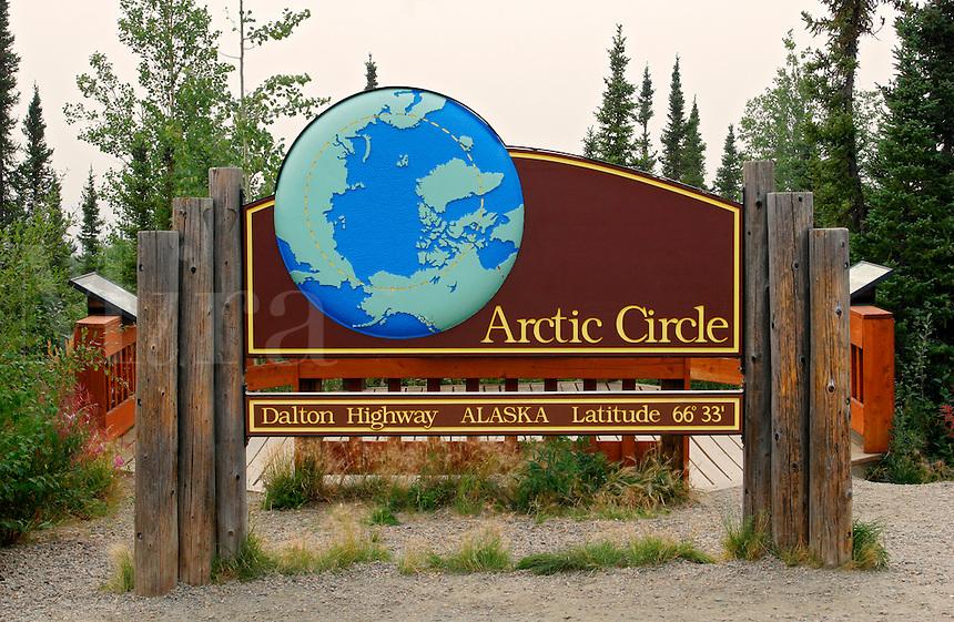 The Arctic Circle sign from along the Dalton Highway, Alaska