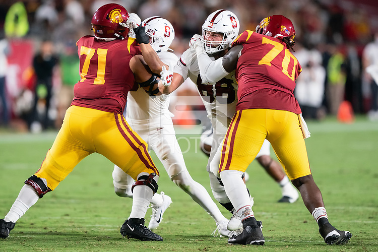 LOS ANGELES, CA - SEPTEMBER 11: Tucker Fisk during a game between University of Southern California and Stanford Football at Los Angeles Memorial Coliseum on September 11, 2021 in Los Angeles, California.