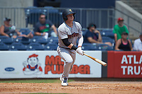 Clint Frazier (77) of the Scranton/Wilkes-Barre RailRiders follows through on his swing against the Gwinnett Stripers at Coolray Field on August 18, 2019 in Lawrenceville, Georgia. The RailRiders defeated the Stripers 9-3. (Brian Westerholt/Four Seam Images)