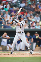 Angel Aguilar (2) of the Charleston RiverDogs at bat against the Columbia Fireflies at Spirit Communications Park on June 9, 2017 in Columbia, South Carolina.  The Fireflies defeated the RiverDogs 3-1.  (Brian Westerholt/Four Seam Images)