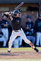 Noah Rabon (17) of the University of South Carolina Upstate Spartans bats in a game against the University of Toledo Rockets on Saturday, February 20, 2021, at Cleveland S. Harley Park in Spartanburg, South Carolina. Upstate won, 5-1. (Tom Priddy/Four Seam Images)