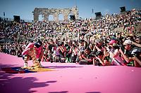 Richard Carapaz (ECU/Movistar) is celebrated in the Verona amphitheater after winning the 102nd Giro d'Italia making him the proud owner of the Trofeo Senza Fine<br /> <br /> Stage 21 (ITT): Verona to Verona (17km)<br /> 102nd Giro d'Italia 2019<br /> <br /> ©kramon