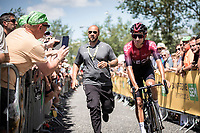 Egan Bernal (COL/Ineos) on his way to the pre stage sign on. <br /> <br /> Stage 9: Saint-Étienne to Brioude (170km)<br /> 106th Tour de France 2019 (2.UWT)<br /> <br /> ©kramon