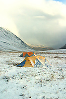 Folly Lake camp after a brief snow squall in late August. North Slope, Endicott Mountains of the central Brooks Range in northern Alaska. 130 miles north of the the Arctic Circle. Home for one glorious week.