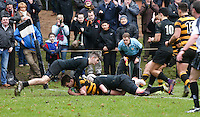 Saturday 18th February 2017   CCB vs RBAI<br /> <br /> Joe Finnegan scores the first RBAI try during the Ulster Schools' Cup Quarter Final clash between Campbell College Belfast and RBAI at Foxes Field, Campbell College, Belmont, Belfast, Northern Ireland.<br /> <br /> Photograph by John Dickson   www.dicksondigital.com