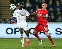 SWANSEA, WALES - MARCH 16: Martin Skrtel of Liverpool (R) challenges Bafetimbi Gomis of Swansea (L) during the Premier League match between Swansea City and Liverpool at the Liberty Stadium on March 16, 2015 in Swansea, Wales