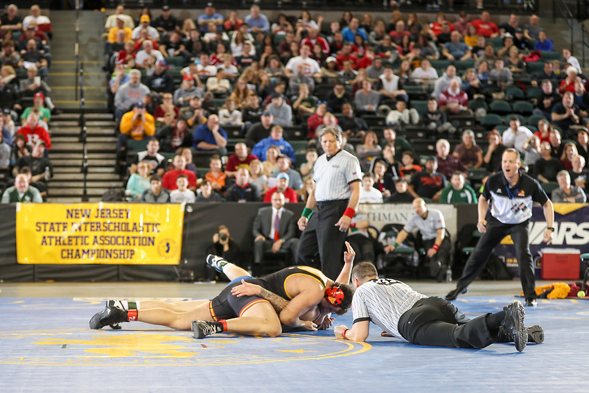 Heavyweight Lewis Fernandes of Voorhees defeats Kody Wood of Pennsville in the 285-pound final at the 2018 NJSIAA State Wrestling Championships at Atlantic City's Historic Boardwalk Hall on Sunday, March 4, 2018.
