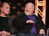 "PASADENA, CA - JANUARY 9: (L-R) Cast members Zach Grenier and Stephen McKinley Henderson attend the panel for ""Devs"" during the FX Networks presentation at the 2020 TCA Winter Press Tour at the Langham Huntington on January 9, 2020 in Pasadena, California. (Photo by Frank Micelotta/FX Networks/PictureGroup)"