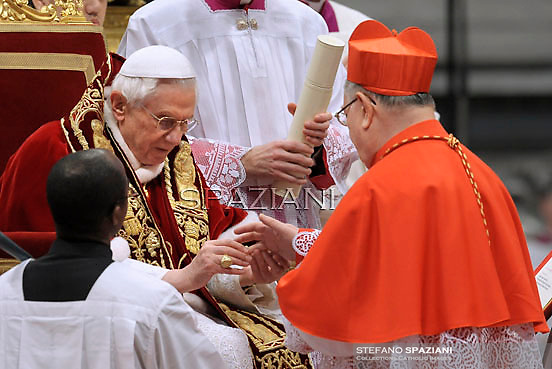 cardinal  Giuseppe Bertello .., Pope Benedict XVI leads the Consistory where he will appoint 22 new cardinals on February 18, 2012 at St Peter's basilica at the Vatican.