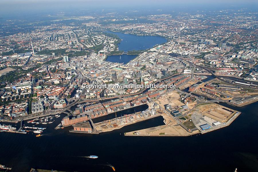 4415 / Hafencity: EUROPA, DEUTSCHLAND, HAMBURG, (EUROPE, GERMANY), 09.10.2005: Hafencity, Speicherstadt, wachsende Stadt, Elbe, Innenstadt,