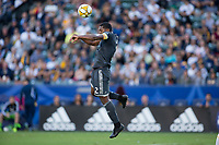 CARSON, CA - SEPTEMBER 29: Doneil Henry #2 of the Vancouver Whitecaps heads a ball during a game between Vancouver Whitecaps and Los Angeles Galaxy at Dignity Health Sports Park on September 29, 2019 in Carson, California.