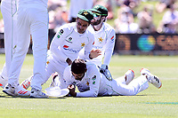 Pakistan players celebrate after holding a catch during day one of the second International Test Cricket match between the New Zealand and Pakistan at Hagley Oval in Christchurch, New Zealand on Sunday, 03 January 2021. Photo: Martin Hunter / lintottphoto.co.nz