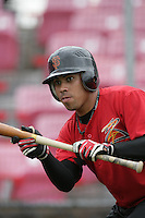 July 8 2009: Juan Martinez of the Salem-Kaizer Volcanoes before game against the Tri City Dust Devils at Volcano  Stadium in Kaizer,OR.  Photo by Larry Goren/Four Seam Images