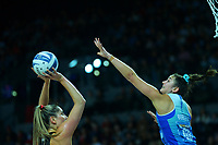 Tactix goal attack Te Paea Selby-Rickit shoots for goal under pressure from Kate Burley during the ANZ Premiership netball final between Northern Mystics and Mainland Tactix at Spark Arena in Auckland, New Zealand on Sunday, 8 August 2021. Photo: Dave Lintott / lintottphoto.co.nz