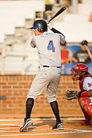 Shortstop Wilmer Flores (4) of the Kingsport Mets at bat at Howard Johnson Field in Johnson City, TN, Thursday July 3, 2008.