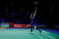 13th March 2020, Arena Birmingham, Birmingham, UK;  Malaysias Lee Zii Jia returns a shot during the mens singles quarterfinal match with China s Chen Long at the All England Open Badminton Championships in Birmingham