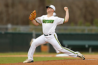 San Jacinto Gators pitcher Jacob Cantleberry (22) in action against the Bossier Parish Community College Cavaliers at Harrison Field on February 2, 2018 in Houston, TX. (Erik Williams/Four Seam Images)