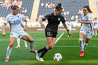 BRIDGEVIEW, IL - JULY 18: Morgan Gautrat #13 of the Chicago Red Stars dribbles the ball as Eugenie Le Sommer #9 and Lauren Barnes #3 of the OL Reign defend during a game between OL Reign and Chicago Red Stars at SeatGeek Stadium on July 18, 2021 in Bridgeview, Illinois.